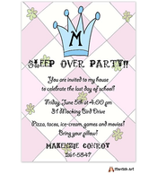 Pink with Blue Monogram Invitation