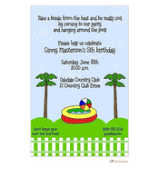 Palm Trees Pool Party Invitation