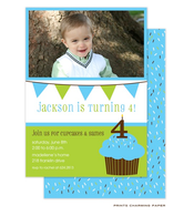 Sweet Blue Cupcake Birthday Invitation with Digital Photo