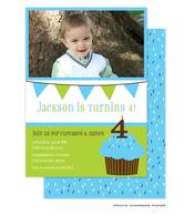 Sweet Blue Cupcake Birthday Invitation with Digital Photo