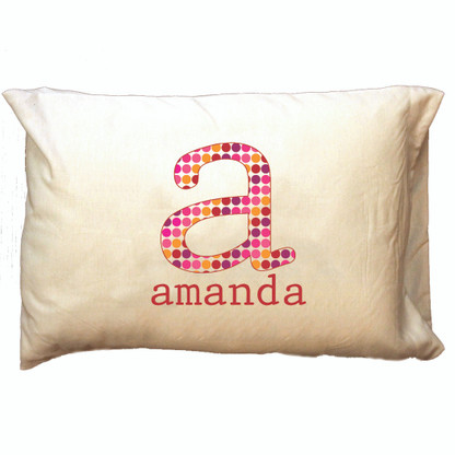 Personalized Pillowcase- Dot Pattern Initial