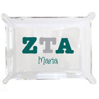 Personalized Greek Lucite Small Tray - Zeta Tau Alpha