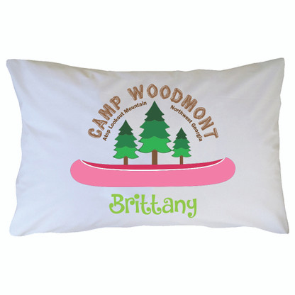 Personalized Camp Woodmont Pillowcase - Pink