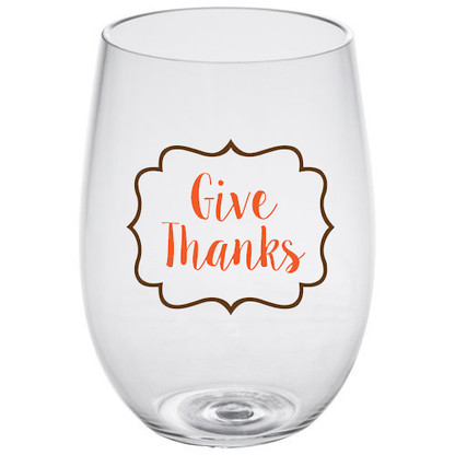 Give Thanks Stemless Wine Glass