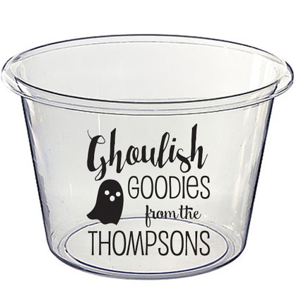 Personalized Lucite Halloween Candy Bucket - Ghoulish Goodies