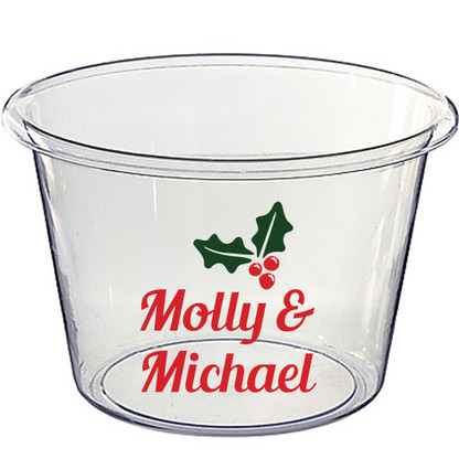 Personalized Lucite Christmas Beverage Bucket - Holly, Blenda Script Font