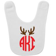Personalized Reindeer Monogram Baby Bib - Circle Monogram