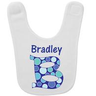 Personalized Big Initial Blue Baby Bib