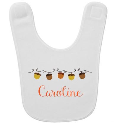 Personalized Acorn Garland Baby Bib