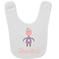 Personalized Robot Girl Baby Bib