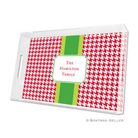 Alex Houndstooth Red Lucite Tray - Large