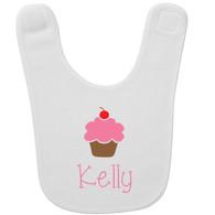 Personalized Pink Cupcake Baby Bib