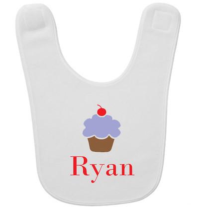 Personalized Blue Cupcake Baby Bib