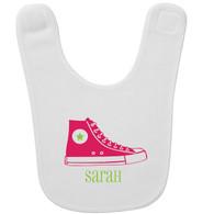 Personalized Hi-Top Pink Baby Bib