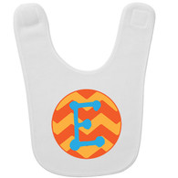 Personalized Chevron Orange Initial Baby Bib