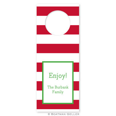 Personalized Awning Stripe Holiday Wine Tag