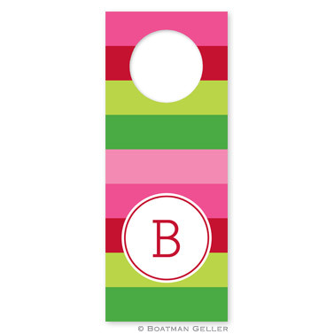 Personalized Bold Stripe Pink & Green Holiday Wine Tag