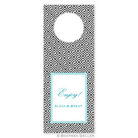 Personalized Greek Key Black Holiday Wine Tag