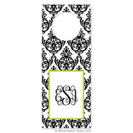 Madison Damask White with Black Holiday Wine Tag