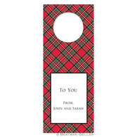 Personalized Plaid Red Holiday Wine Tag