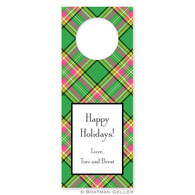 Personalized Preppy Plaid Holiday Wine Tag