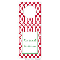Personalize Trellis Reverse Cherry Holiday Wine Tag