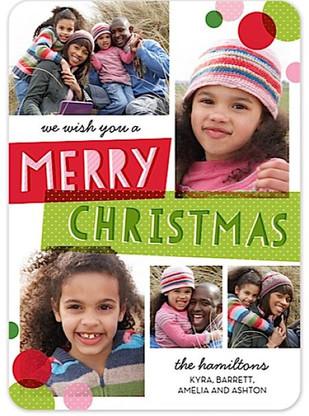 Christmas Bubbles Flat Holiday Digital Photo Card