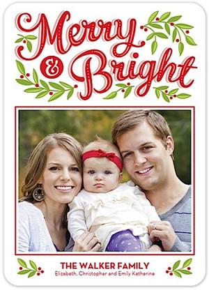 Merry & Bright Flat Holiday Digital Photo Card