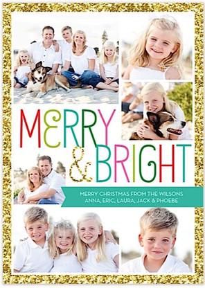 Bright Sparkle Flat Holiday Digital Photo Card