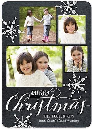 Chalkboard Snowflakes Flat Holiday Digital Photo Card