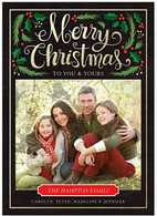 Christmas Foliage Flat Holiday Digital Photo Card