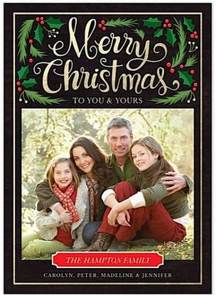 Christmas Foliage Flat Holiday Digital Photo Card