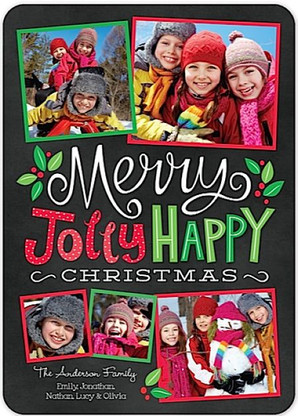 Merry Jolly Happy Flat Holiday Digital Photo Card