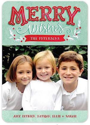 Minty Wishes Flat Holiday Digital Photo Card