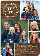 Monogram Wreath Flat Holiday Digital Photo Card