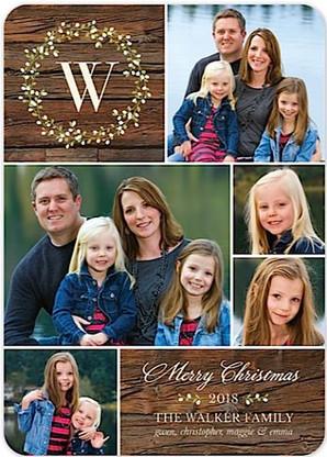 Monogram Wreath Flat Holiday Digital Photo Card