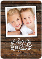 Wooden Wishes Flat Holiday Digital Photo Card