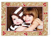 Burlap Pattern Folded Holiday Digital Photo Card