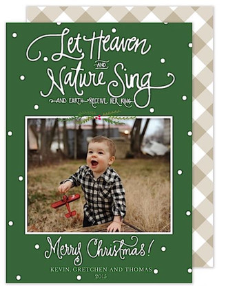 Let Heaven and Nature Sing Flat Holiday Digital Photo Card