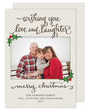 Love & Laughter Flat Holiday Digital Photo Card
