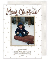 Natural Dots & Gingham Flat Holiday Digital Photo Card