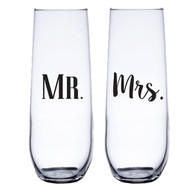 Mr. & Mrs. Stemless Champagne Flute Set, Black Vinyl