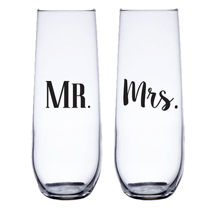 Mr. & Mrs. Stemless Champagne Flute Set, Black Vinyl