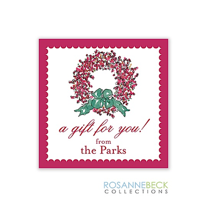 Berry Wreath Holiday Gift Sticker