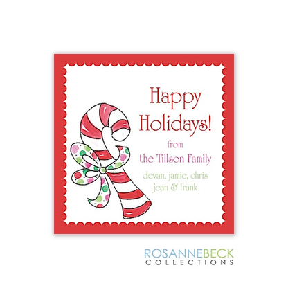 Candy Cane Red Holiday Gift Sticker