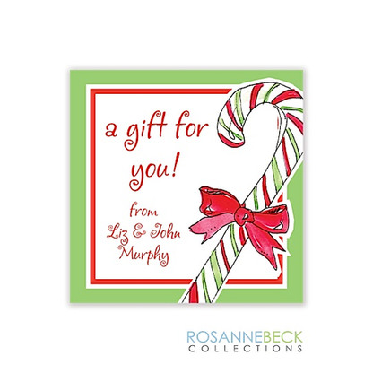 Candy Cane Green Holiday Gift Sticker