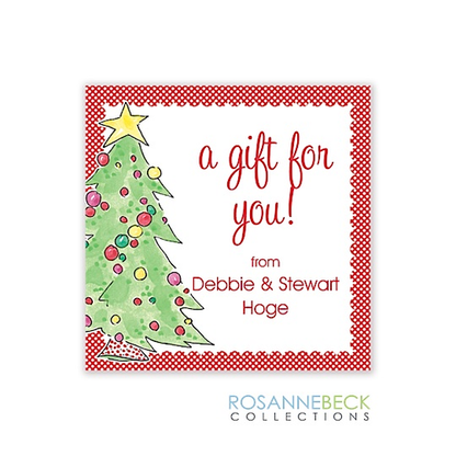 Classic Christmas Tree Holiday Gift Sticker