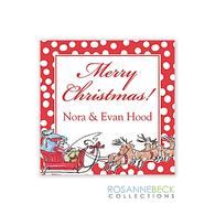Santa Sleigh Holiday Gift Sticker