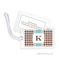 Alex Houndstooth Chocolate Laminated Bag Tag