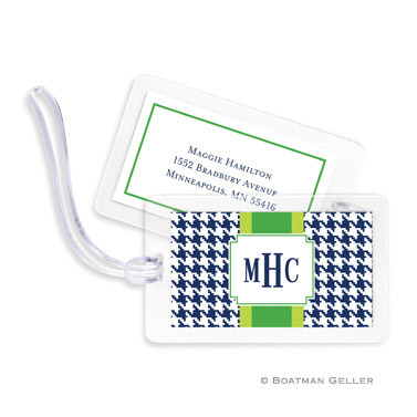 Alex Houndstooth Navy Laminated Bag Tag Set